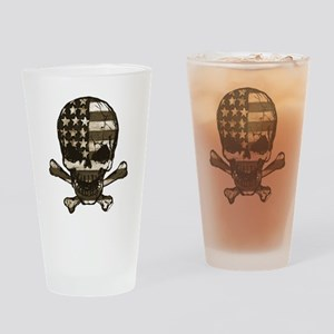 Flag-painted-Skull-Sepia Drinking Glass