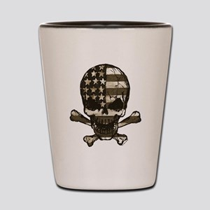Flag-painted-Skull-Sepia Shot Glass