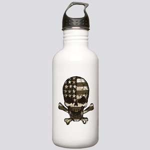 Flag-painted-Skull-Sepia Water Bottle