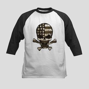 Flag-painted-Skull-Sepia Baseball Jersey