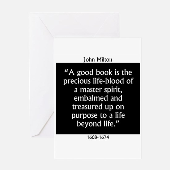 A Good Book Is The Precious Life Blood Greeting Ca