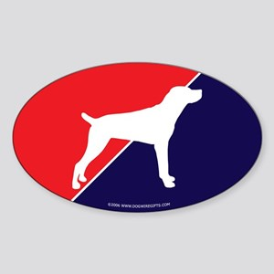 US Flag Mountain Cur Oval Sticker