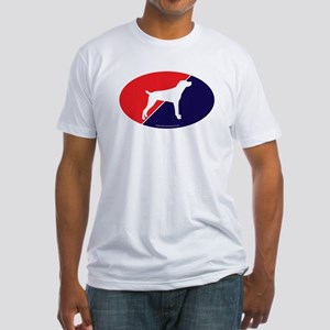 US Flag Mountain Cur Fitted T-Shirt