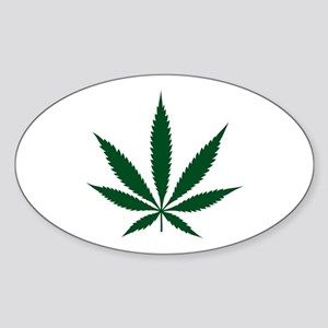 Marijuana Leaf Green Oval Sticker