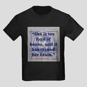 She Is Too Fond Of Books - Alcott Kids Dark T-Shir