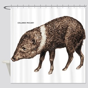 Collared Peccary Animal Shower Curtain