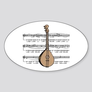 Mandolin and Sheet Music Design Oval Sticker