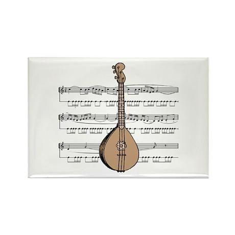Mandolin and Sheet Music Design Rectangle Magnet