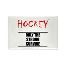 Only the Strong Hockey Rectangle Magnet