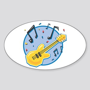 Guitar and Music Notes Design Oval Sticker