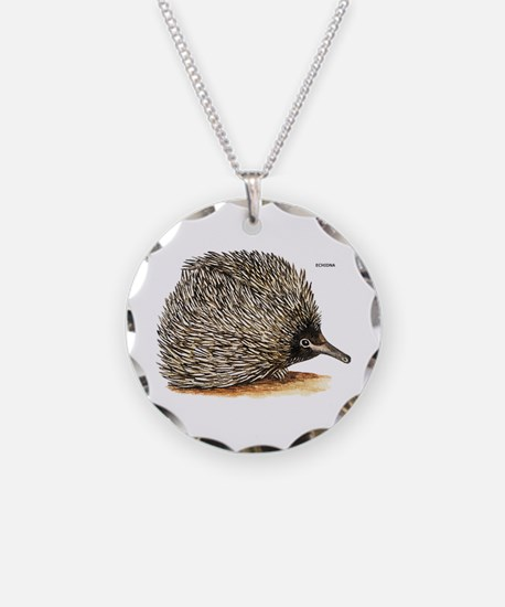 Echidna Spiny Animal Necklace Circle Charm