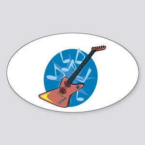 Funky Electric Guitar Oval Sticker