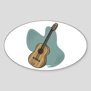 Acoustic Guitar Design Oval Sticker