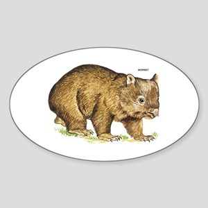 Wombat Animal Sticker (Oval)