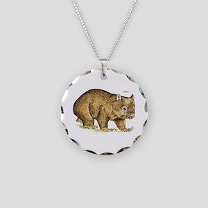 Wombat Animal Necklace Circle Charm
