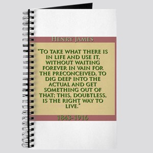 To Take What There Is In Life - H James Journal