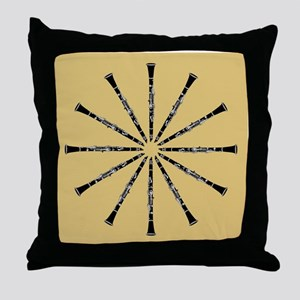 Clarinet Mandala Throw Pillow, Black and Tan