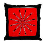 Clarinet Mandala Red, Red Throw Pillow