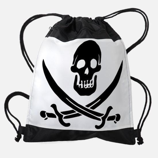 Pirate Flag Black.png Drawstring Bag