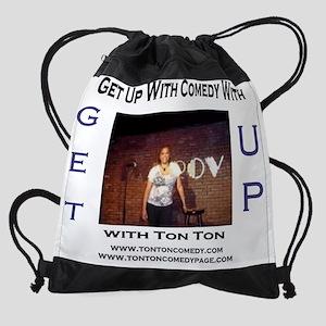 get up radio template ton ton comed Drawstring Bag