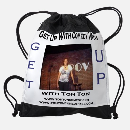 get up radio template ton ton comed Drawstring Bag