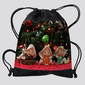 Three Christmas Elves II Drawstring Bag