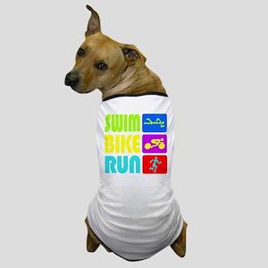 TRI Swim Bike Run Figures Dog T-Shirt