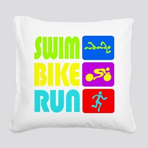 TRI Swim Bike Run Figures Square Canvas Pillow