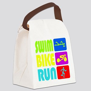 TRI Swim Bike Run Figures Canvas Lunch Bag