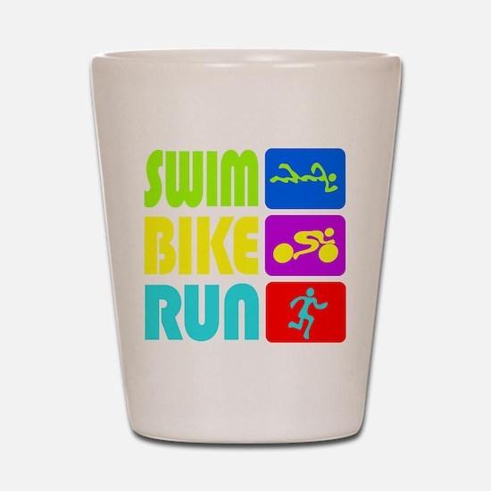 TRI Swim Bike Run Figures Shot Glass