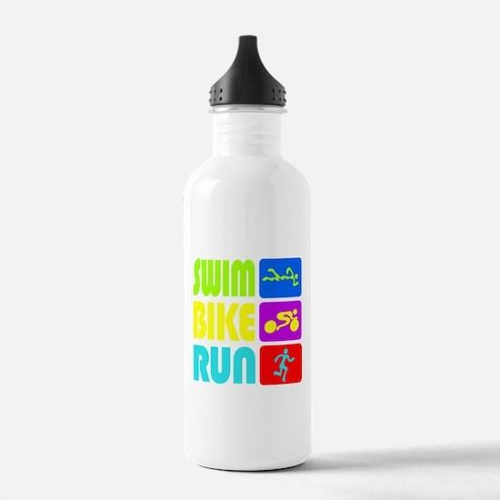 TRI Swim Bike Run Figures Water Bottle