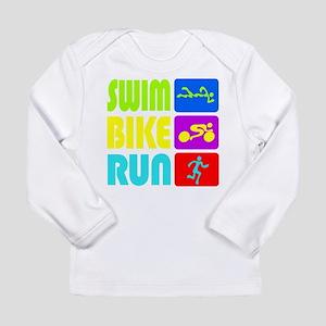 TRI Swim Bike Run Figures Long Sleeve T-Shirt