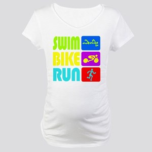 TRI Swim Bike Run Figures Maternity T-Shirt