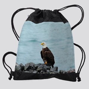 22x14_wallpeel_eagle_2 Drawstring Bag