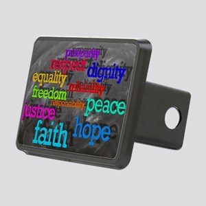 Rainbow Moral Words Rectangular Hitch Cover