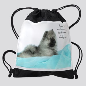 Keeshond Puppy Drawstring Bag