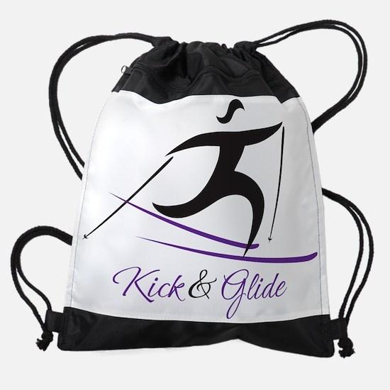 lady kick and glide blk.png Drawstring Bag