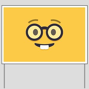 Nerdy Emoji Face Yard Sign