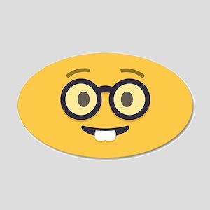 Nerdy Emoji Face Wall Decal