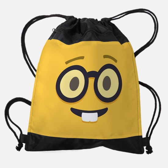 Nerdy Emoji Face Drawstring Bag
