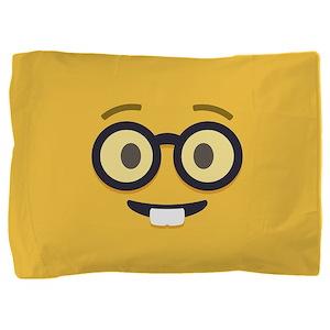 Nerdy Emoji Face Pillow Sham