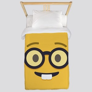 Nerdy Emoji Face Twin Duvet Cover