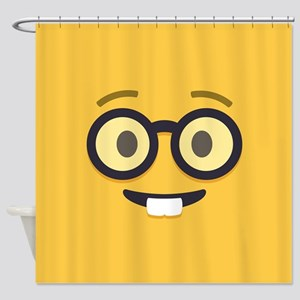 Nerdy Emoji Face Shower Curtain