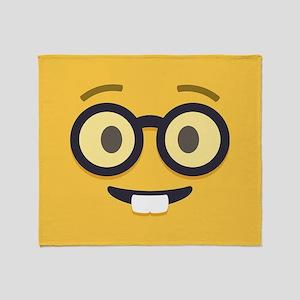 Nerdy Emoji Face Throw Blanket