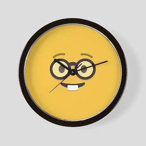 Nerdy Emoji Face Wall Clock