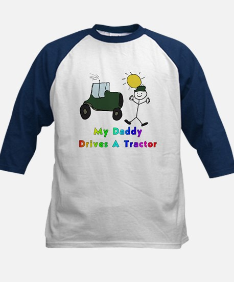 My Daddy Drives A Tractor Kids Baseball Jersey