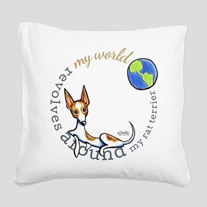 Rat Terrier World Square Canvas Pillow