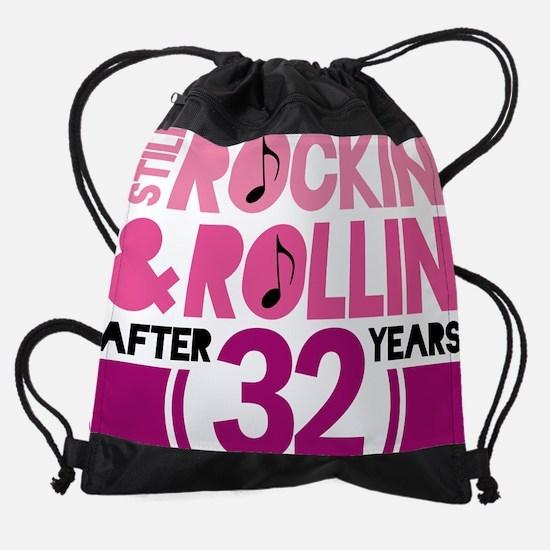 32 pink rock.png Drawstring Bag