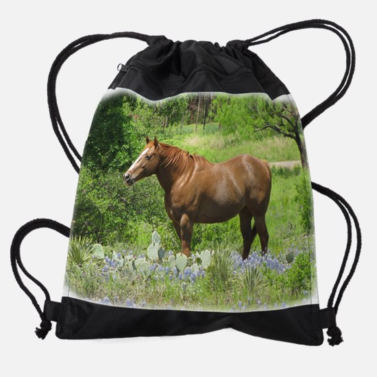 Horse in Bluebonnets Drawstring Bag