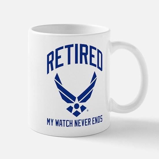 USAF Retired Watch Never Ends Mug